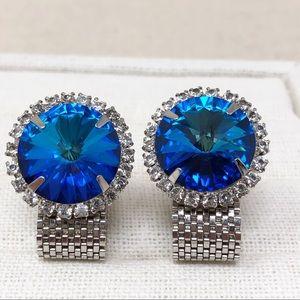 Stunning Vintage Blue Rivoli Silver Mesh Cufflinks